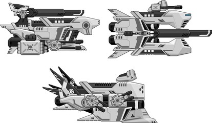 Collection of various space ships for side scrolling space shooter video games