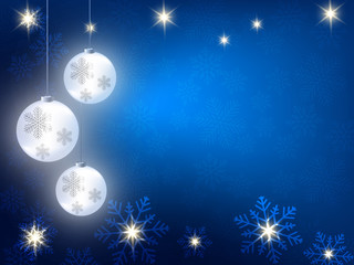 Christmas background with blue and white snowflakes and snow ball in various styles. Abstract Vector Illustration.