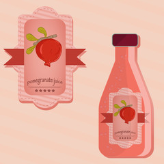 flat illustration of labels and bottles of pomegranate juice