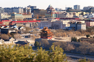 beijing skyline and Forbidden City