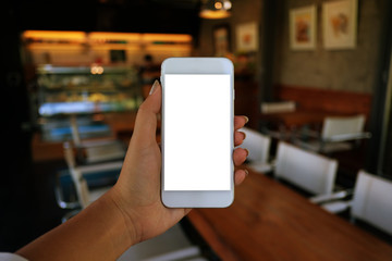 Close up of women's hands holding cell telephone blank copy space screen. smart phone with technology concept.