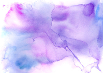 Watercolor background. Watercolor abstract spot, splash of paint, blot, divorce, color. Vintage pattern for different design and decoration. Pink, blue, purple paint color. A drip of paint.