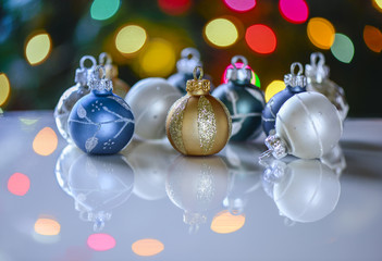 Colorful Christmas ornaments and lights