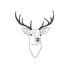 Hand drawn vintage label with textured deer. Vector