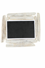 Driftwood.frame from chalk board and dry sea driftwood. Blank empty . Flat lay, top view, copy space