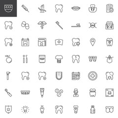 Dentist dental line icons set, outline vector symbol collection, linear style pictogram pack. Signs, logo illustration. Set includes icons as tooth, implants, braces, caries, denture, toothbrush