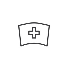 Medical nurse hat line icon, outline vector sign, linear style pictogram isolated on white. Symbol, logo illustration. Editable stroke