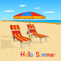 Summer beach Vector design on the beach with an umbrella and a chair on the beach. Vector illustration of a holiday on the beach.