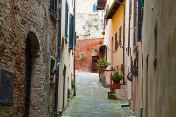 Montepuliciano old city characteristic medieval narrow street, Tuscany, Italy