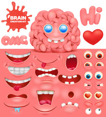 Brain cartoon character creation set. Do it yourself collection