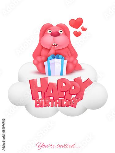 Happy Birthday Invitation Card With Pink Cartoon Bunny
