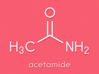 Acetamide (ethanamide) molecule. Used as plasticizer and industrial solvent. Carcinogenic (known to cause cancer). Skeletal formula.