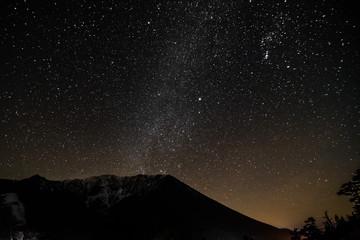 日本、鳥取県、大山、天の川と百名山、絶景、伯耆富士、夜、星座