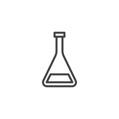 Medical test tube line icon, outline vector sign, linear style pictogram isolated on white. Conical flask symbol, logo illustration. Editable stroke