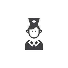 Nurse icon vector, filled flat sign, solid pictogram isolated on white. Medical doctor symbol, logo illustration