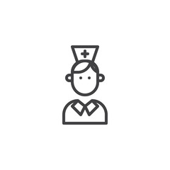 Nurse line icon, outline vector sign, linear style pictogram isolated on white. Medical doctor symbol, logo illustration. Editable stroke