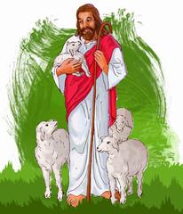 painting style illustration of Jesus Christ ( yeshu )