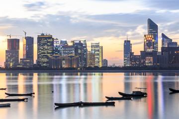 modern office buildings in hangzhou qianjiang new city at dusk