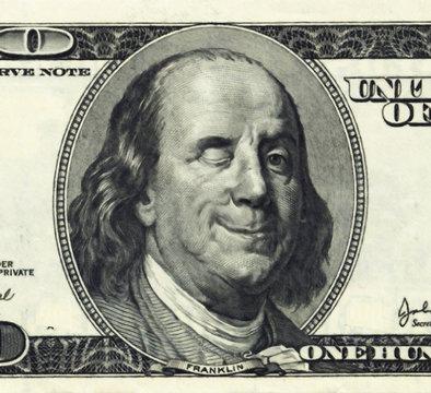 Smiling Ben Franklin with Wink
