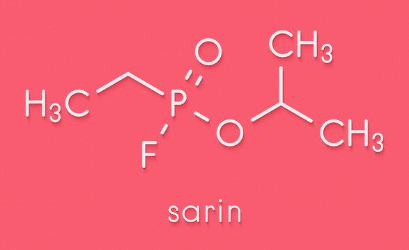 Sarin nerve agent molecule (chemical weapon). Skeletal formula.