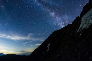南アルプス、北岳から富士山・天の川を遠望する、絶景登山、星座