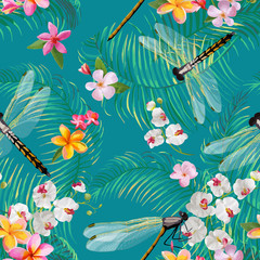 Tropical Floral Seamless Pattern with Dragonflies. Botanical Wildlife Background with Palm Tree Leaves and Exotic Flowers for Wallpapers and Fabric. Vector illustration
