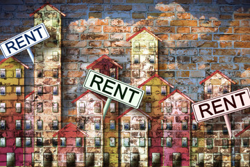 Real estate concept image with colorful cartoon doodles background design and placards with written rent on it.
