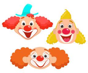 Set of cartoon clown faces. Vector illustration.