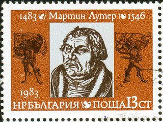 UKRAINE - circa 2017: A postage stamp printed in Bulgaria shows Martin Luther 1483-1546, circa 1983