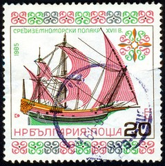 UKRAINE - circa 2017: A postage stamp printed in Bulgaria shows sailing ship Mediterranean Polacker 17th century, Series Historic Ships, circa 1985