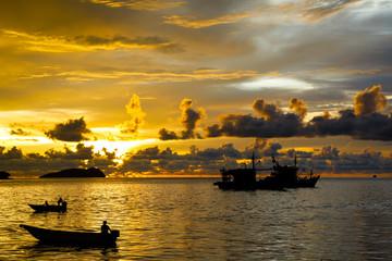 Spectacular sunset in Kota Kinabalu in Sabah Malaysia