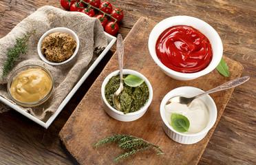 Bowls of various sauces