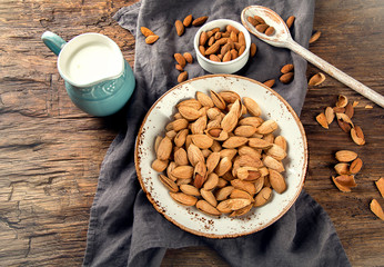 Almond milk and almond nuts.