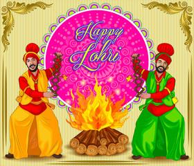 Punjabi illustration for lohri festival