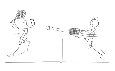 Vector Cartoon of Two Tennis Players Playing