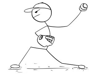 Cartoon of Male Baseball Player Pitcher