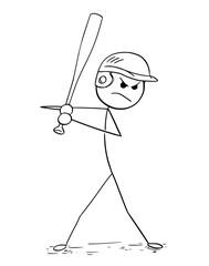 Cartoon of Male Baseball Player Batter