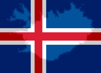 Icelandic flag with a contour of borders
