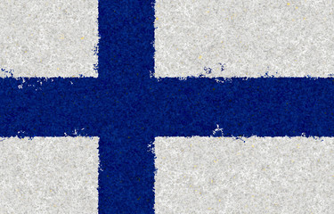 Finnish flag with a blossom pattern