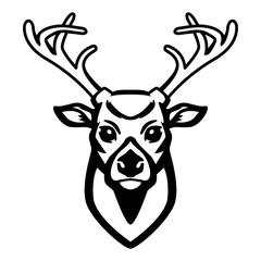 Deer icon isolated on white background. Design element for logo, label, emblem, sign.