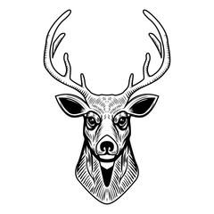 Deer head illustration isolated on white background. Design element for emblem, sign, poster, label.