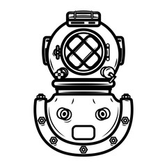Vintage diver helmet. Design element for logo, label, emblem, sign.