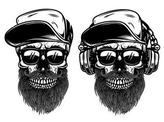 Human skulls with sunglases, baseball cap and headphones. Design element for logo, label, emblem, sign.