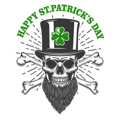 Happy saint patrick day. Irish Leprechaun skull with clover. Design element for poster, t-shirt, emblem, sign.