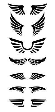 Set of wings icons. Design elements for logo, label, emblem, sign.