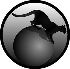 Black cat panther shiny business logo vector isolated isolated