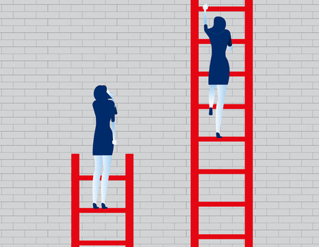 Business person watching leader climb on ladder. Concept business vector illustration.