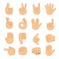 hands fingers signals over white background vector illustration