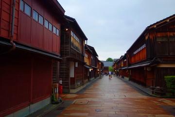 Kanazawa, Japan street scene at Higashichaya district.