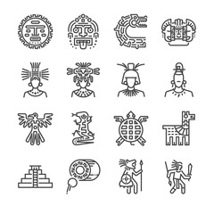 Aztec icon set. Included the icons as maya, mayan, tribe, antique, pyramid